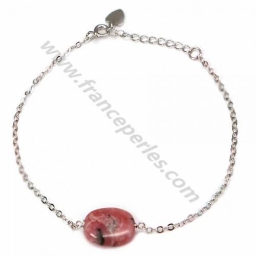 Bracelet silver 925 rhodochrosite ovale