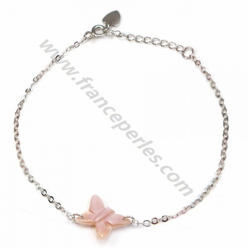 Bracelet chaîne silver 925 butterfly in rose shell