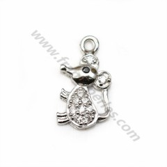 925 silver and zirconium charm, in the shape of a mouse, measuring 6 * 12mm x 1pc