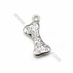925 silver & zirconium charm in bone-shaped, measuring 5 * 12mm x 1pc