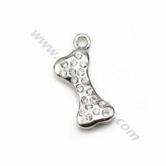 925 silver & zirconium charm in bone-shaped, measuring 5 * 12mm x 1pc