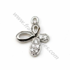925 silver & zirconium charm, in the shape of a butterfly, measuring 9 * 11mm x1pc