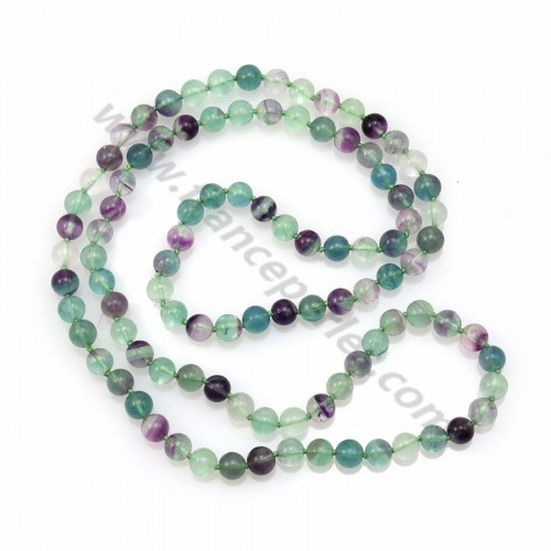 Long necklace with fluorite stones measuring 8mm, on a length of 90cm x 1pc
