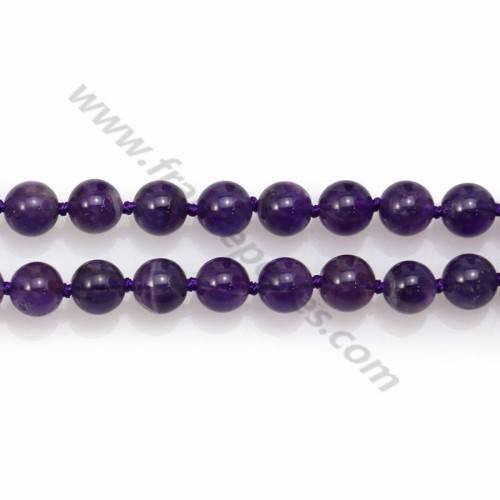 Long necklace in amethyst measuring 8mm, on a length of 80cm x 1pc