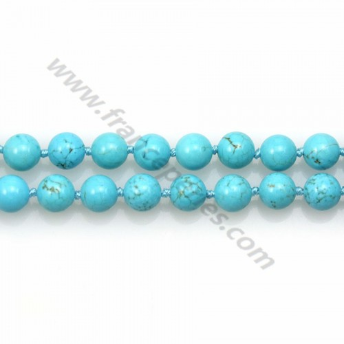 Long necklace in turquoise on round shape measuring 8mm length of 80cm x 1pc