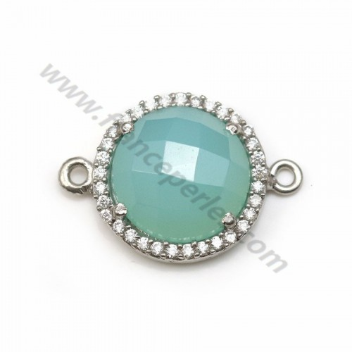 Faceted oval chalcedony set in 925 silver with zirconium  13*17mm x 1pc