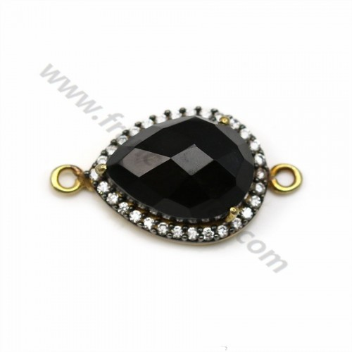 Drop faceted black Agate set in gold plated silver and zirconium 13*17mm x 1pc