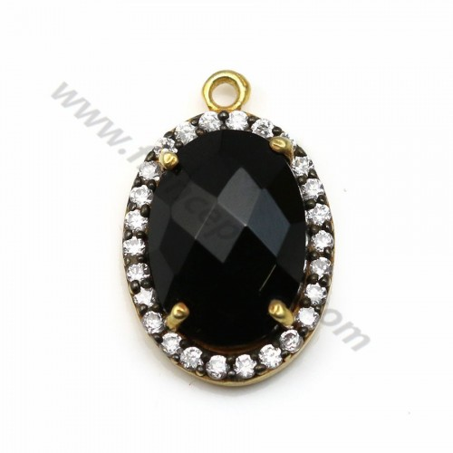 Faceted oval spinel set in gold-plated silver with zirconium 13*17mm x 1pc