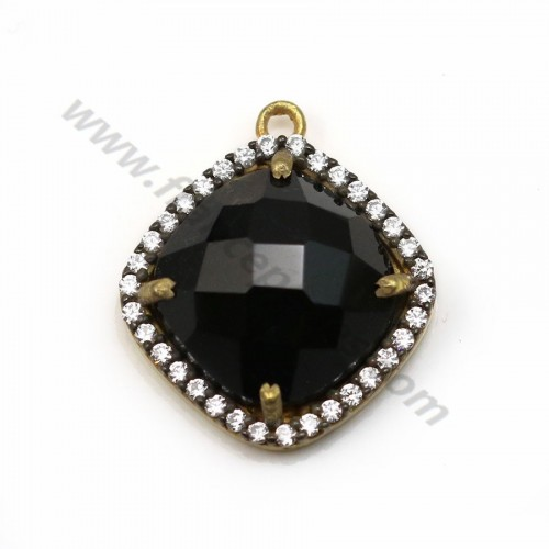 Faceted rhombus black spinel set in gold-plated silver with zirconium 15mm x 1pc
