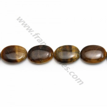 Tiger eye of oval shape, and yellow color, measuring 15 * 20mm x 40cm