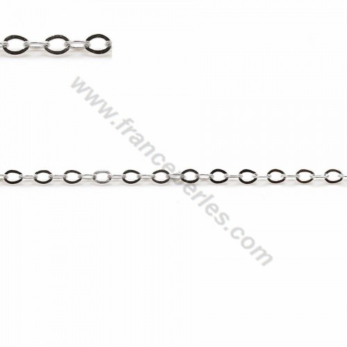 925 sterling silver rhodium flat forcat chain 2x1.5mm x 50cm