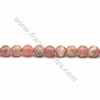 Rhodochrosite pink, of round shape, in size of 5-5.5mm x 40cm