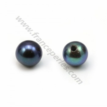 Half-drilled round dark blue freshwater pearl 4-5mm x 1pc