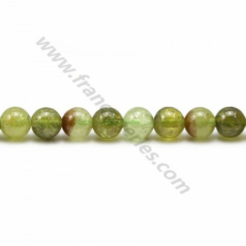 Garnet in green color, in round shape, and in size of 6mm x 39cm