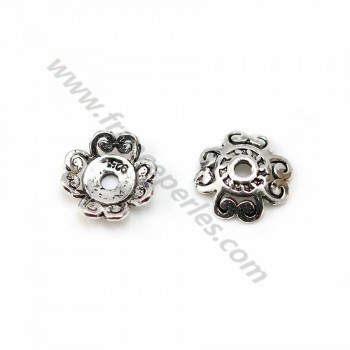 "925 sterling silver flower-shape ""cup"" finding 10mm x 4pcs"