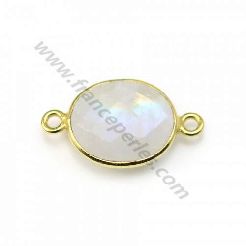 Moonstone in the oval shape, set on golden silver, 13*11mm x 1pc