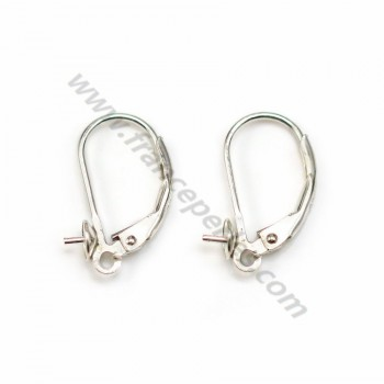 Leverbacks for half-drilled pearls, 925 Sterling Silver  8mm X 2 pcs