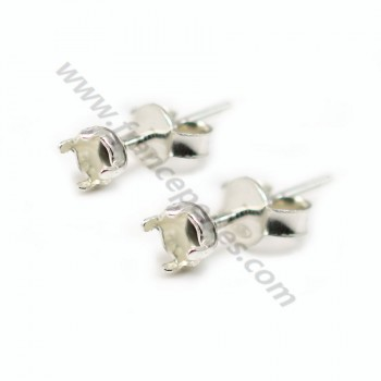 Flat ear studs with ring 925  6mm  x 2 pcs