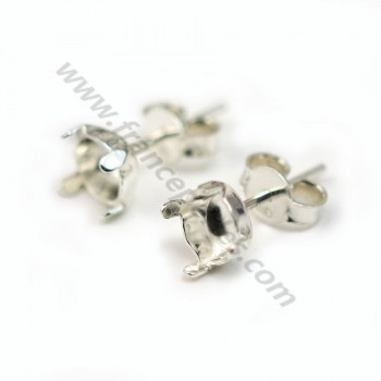 stud earrings holder cabochon 925 6.5mm X 2 pcs