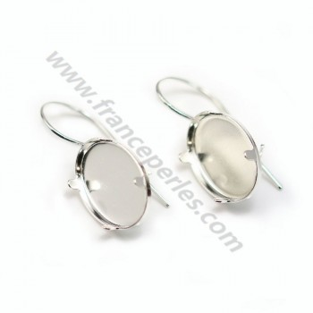 Earrings threadse  with the set cabochon, Sterling Silver 925 , 13x18mm  X 2 pcs