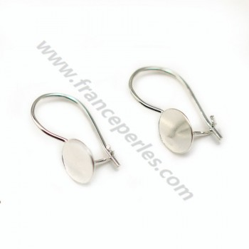 Earwires with disc, Sterling Silver 925 , 7.7x19mm  x 2 pcs