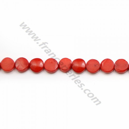 Red colored round flat sea bamboo 9-11mm x40cm
