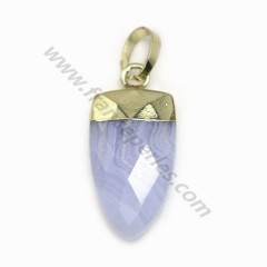 Pendant in chalcedony, set in gold metal, 10 * 18mm x 1pc