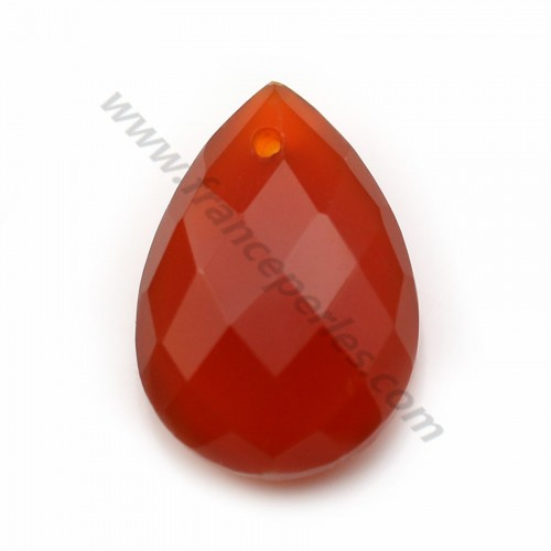 Orange cornaline, in faceted drop shaped, 13 * 18mm x 1pc