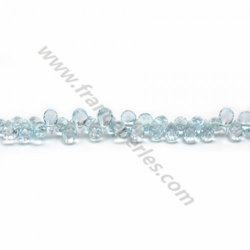 "Topaz ""Swiss blue"", in shaped of a faceted briolette, 4 * 6mm x 20cm"