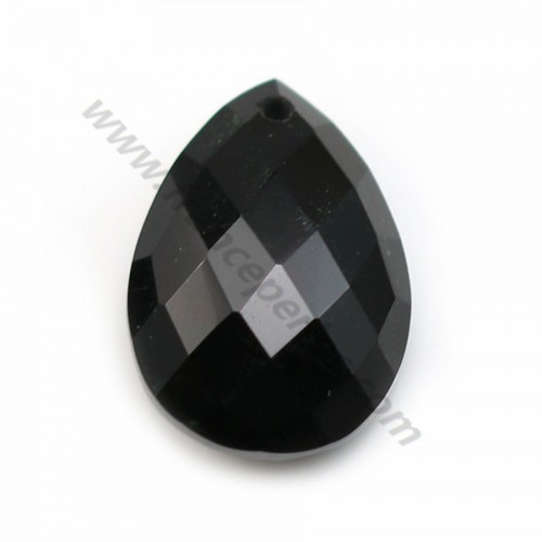 Black Agate teardrop faceted 13x18mm x1pc