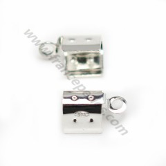 Tip clamp in 925 silver, for cord and lace, 4mm x 4pcs