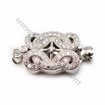 Rectangle with zircon shaped Clasp, Silver 925 11x15mm X 1 pc