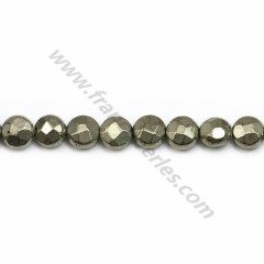 Pyrite, in the shape of round flat faceted, 6mm x 39cm