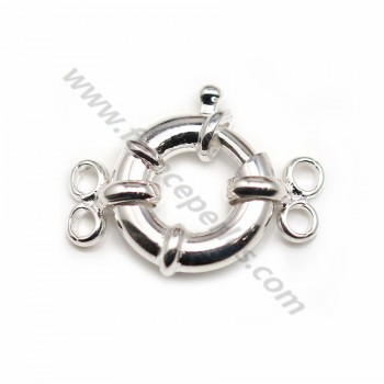 Silver 925 clasp spring ring 14mm 2 strands  X 1 pc