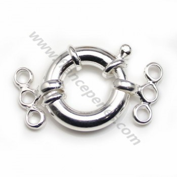 Spring ring clasp 3 strands, 925 Sterling silver 16mm x 1 pc