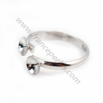 Sterling silver 925 adjustable rings for double half- drille x 1pc