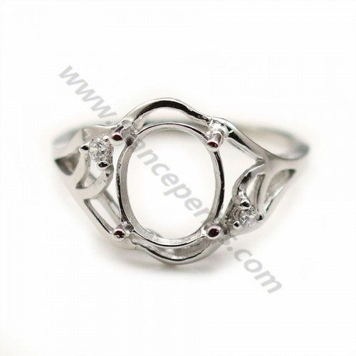 Sterling Silver 925 ring mount cabochon 8*10mm with zircon X 1pc