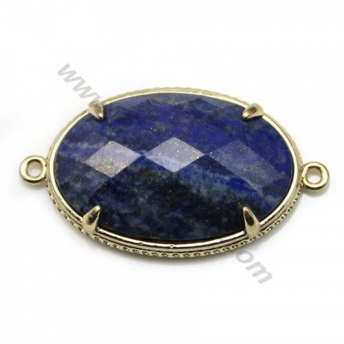 Lapis lazuli interlayer, set in metal, in oval shaped, 20*30mm x 1pc