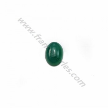 Cabochon green agate oval 5x7mm x 4pcs