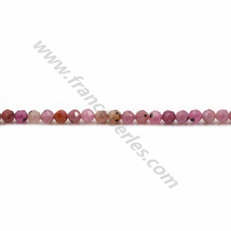 red ruby, in faceted round shape, 3mm x 40cm