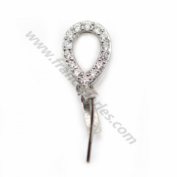 Silver 925 Rhodium Bail  with  strasses 18mm X 1 pcs