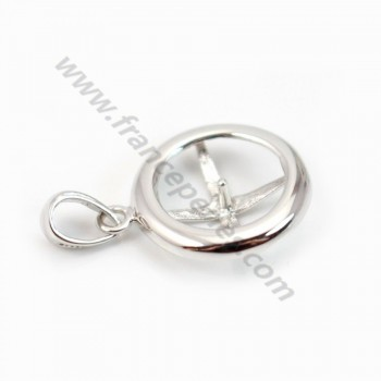 Pendant & round, silver 925 rhodium,for half- drille x 1pc