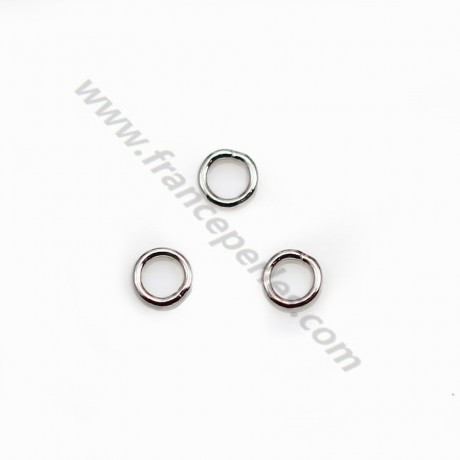 Sliver 925 Rhodium Welded Round Rings 4mm X 10 pcs