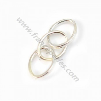 925 Silver, Triple Oval Rings, 8x6x24mm, X 2pcs