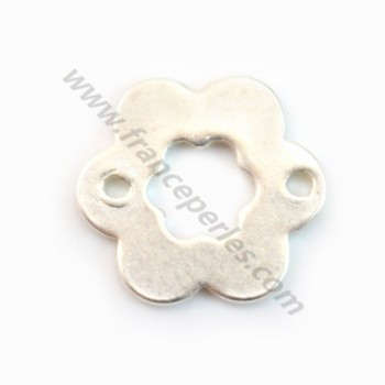 925 Sterling Silver flat Flower spacer  12mm X 2 pcs