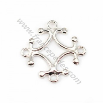 Sterling Silver 925 Cross Rhombus Intercalary 15x15mm X 1pc