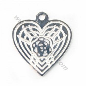 Silver  925 openwork heart  intercalary 11x11mm X 1 pc