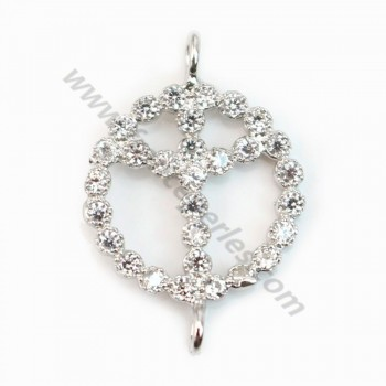 Spacer sterling silver 925 and strass peace & love 11x17mm x 1pc