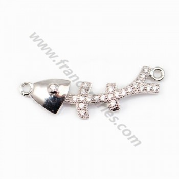 Spacer silver 925 and strass Fishbone 7.5x26mm x 1pc