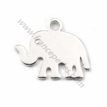 Silver elephant charm 12x13mm x1
